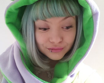 Lime and Lilac  cat Hood. Hooded Scarf with Kitty Cat Ears. Festival Hood. Cosplay Hood. Fleece Hood.