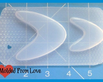 SALE 2 Retro 50's/60's Boomerang Shape Blanks  Handmade Flexible Plastic Resin Mold