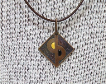 Boho Etched Copper and Torch Fired Enamel Necklace Handmade One of a Kind Artisan Copper Jewelry Art Jewelry Pendant