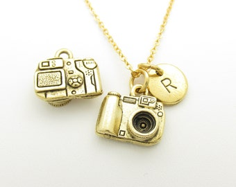 Camera Necklace, Camera Charm Initial Necklace, Personalized, Stamped Initial, Monogram, Photography Charm, Antique Gold, 3D Camera Z195