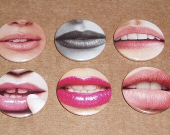 """Our Lips are Sealed #2 Badges - Set of 6 1"""" Pin Badges"""