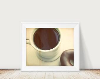 Coffee Donut Fine Art Print-- Natural Brown Cream Black Coffee Breakfast Cozy Black French Press Mug Cup Chocolate Wholesale