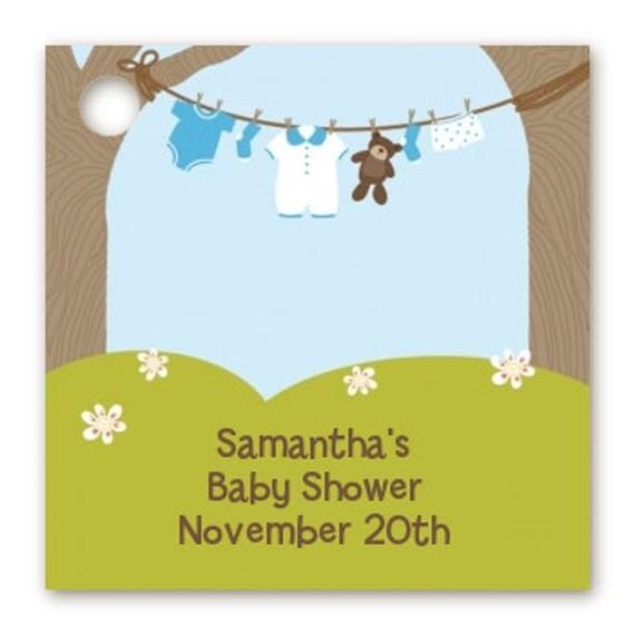 clothesline baby shower custom favor tags set of 20