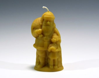 Beeswax Santa with Children Candle Cast Using Antique Chocolate Mold Honey Scented Candle