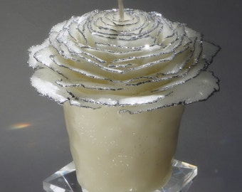 Christmas Candle Gift, Fancy Glitter Candle, White Rose Candle w/Silver or Gold, Holiday Candle, Thank You Gift, Hostess Gift, Unique Candle