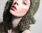 Aviator Hat in Dark Green, Fleece Lined Hat, Trapper Hat in Green, Knit Hat in Khaki Green, Fleece Lined Wool Hat, Dakota Hat