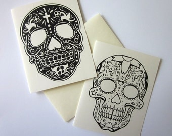 Day of the Dead Sugar Skulls Note Cards Set of 10 with Matching Envelopes