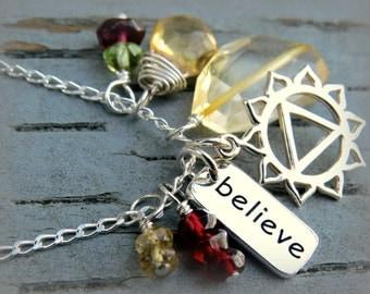 Chakra Necklace, Solar Plexus Jewelry, 3rd Chakra Necklace, Sterling Silver Charm Necklace, Chakra Jewelry, Yoga Necklace, Yoga Jewelry