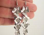Long Cascading Flower Earrings, Shiny Silver Earrings