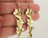 Long Cascading Flower Earrings, Shiny Gold Earrings