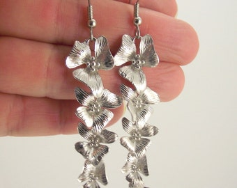 Long Cascading Flower Earrings, Shiny Silver Earrings