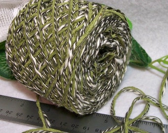 Green Envy Yarn, Cotton Blend Combo Yarn, Greens, Winter White, Dark Green Twist, YOMD, Bin H