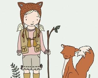 Woodland Art -- Adventure Pals -- Girl and Fox -- Girl Nursery Art Print, Girls Room Decor, Children Art, Kids Wall Art