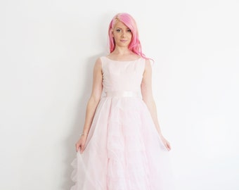 pastel pink fairytale wedding gown . mid century tiered ruffles .extra small.xs .sale