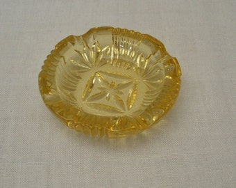 Vintage Yellow Pressed Glass Ashtray
