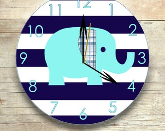 Elephant clock- wooden clock-  kid's wall decor - elephant nursery - wall clock- wooden elephant- kid's room decor