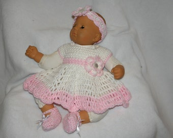 Newborn Dress Set Pink and White dress headband panties shoes