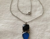 Reserved....Black and Blue Sterling Pendant Necklace Mexico 925