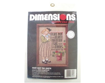 New Vintage DIMENSIONS Cross Stitch Kit // MARY ENGELBREIT // Hurt Not the Earth No. 6592