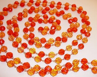 "Long 108"" Red & Orange Necklace Faceted Plastic Beads"