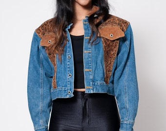 Cheetah Print Cropped Denim Jacket