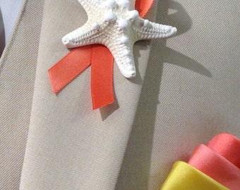 Beach Wedding Starfish Boutonniere with Ribbon, Starfish Lapel Pin, Groom Starfish Lapel Pin, Star fish Boutonniere, Star fish Lapel Pin