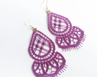 Purple Venise Lace Earrings—FREE SHIPPING