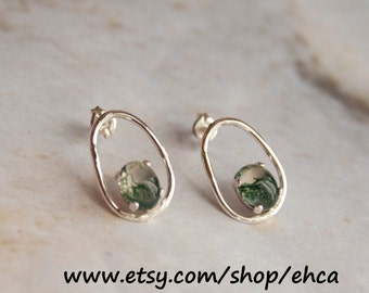 Sterling Silver Loop Earrings With 8x6mm Moss Agate