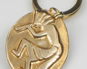 Kokopelli Kiln Fired Bronze Key Ring - Key ring for a Man - Southwest Native American Kokopelli Key Ring - Southwest Kokopelli Pendant