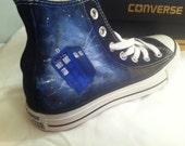 Doctor Who fanart, Custom Converse, Whovian, TARDIS, Fanart Sneakers
