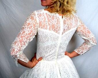 Vintage 1950s Lace Wedding Dress Gown