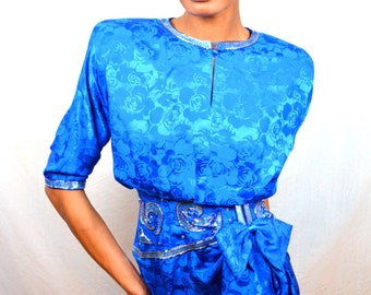 Vintage 80s 1980's Sparkle Beaded Blue Silk Designing Women Dress