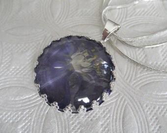Blue-Purple Larkspur Under Glass Pressed Flower Crown Pendant-July Birth Flower-Symbol Of An Open Heart-Nature's Wearable Art-Gifts Under 25