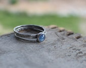 Kyanite Silver Skinnies MADE TO ORDER Set of 3 thin stacking rings