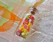 Miniature  Fruit Slices Glass Jar Silver Chain Necklace Picnic Summer Food Necklace Citrus Rainbow Orange Mangosteen
