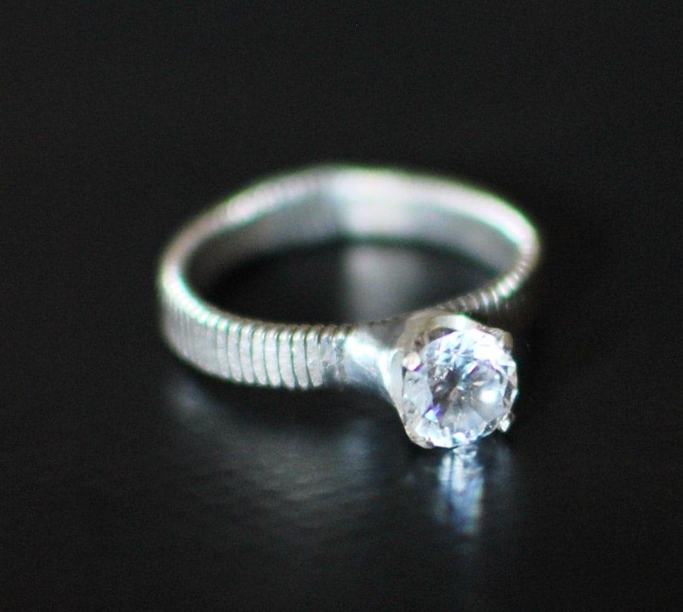 hammered bass guitar string engagement ring engagement ring. Black Bedroom Furniture Sets. Home Design Ideas