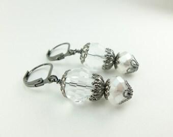 Clear Dangle Earrings Gunmetal Drop Earrings Clear Glass Earrings Beaded Dangle Earrings