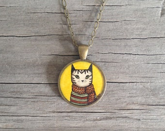 Mr. Tabby Cat Wears a Scarf - Original Watercolor Hand Painted Pendant Necklace - Kitty Pal Love, Valentines Day
