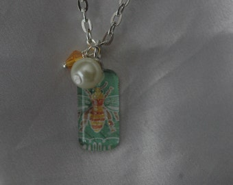 Sweet Little Bee Charm Necklace , Bee Necklace , Glass Bee Necklace