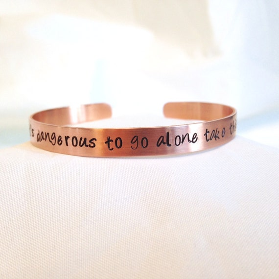 It's Dangerous To Go Alone Take This, Zelda Inspired, Video Game Bracelet, Hand Stamped Bracelet, Copper Jewelry