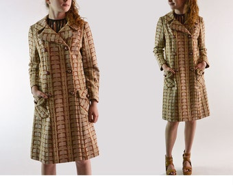 Womens Vintage Coat / 60s Mod Double Breasted Dress Coat / Earthy Brown & Beige Mod Print Dome Gold Bakelite Buttons Princess Coat S