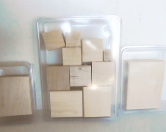 Stampin Up Wooden Stamp Blocks for Mounting Various Sizes of wood mount stamps unused perfect for toy crafts project lot of 12 wooden blocks