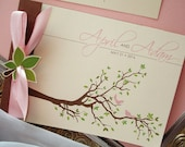 Spring Love Birds Branches and Leaves Booklet Wedding Invitation... SAMPLE