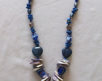 wampum necklace blue crazy horse with lapis stones, stars and pearls