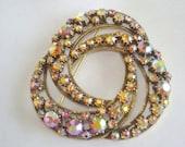 Signed Florenza Pink AB  Rhinestone Gold Tone Jewelry  Brooch