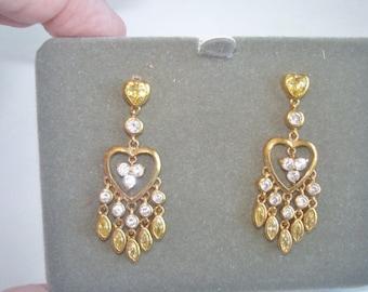 Nolan Miller Hearts Clear Rhinestone Stud Earrings Gold Tone