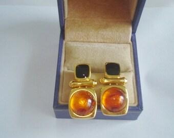 Signed Joan Rivers Black  Amber Color Stud Earrings Gold Tone