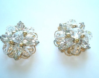 Napier Clear Crystal  Rhinestone Gold  Tone Clip Earrings
