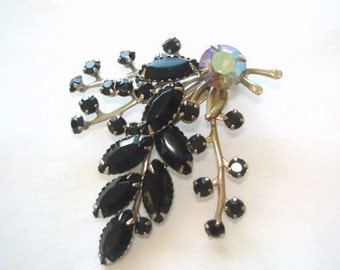 Jet Black Rhinestone Flower  Brooch Vintage Jewelry