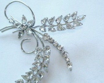 Signed Jay Flex Sterling Vintage Jewelry Clear Rhinestone  Flower Brooch Silver Tone